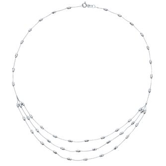 9ct White Gold Triple Layer Necklet - Product number 4517997