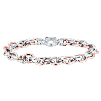 9ct Rose Gold and Silver Chain Link Bracelet - Product number 4518268