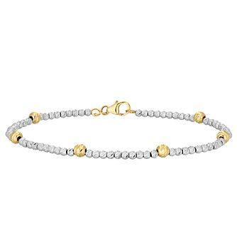 9ct Yellow and White Gold Bead Bracelet - Product number 4518276