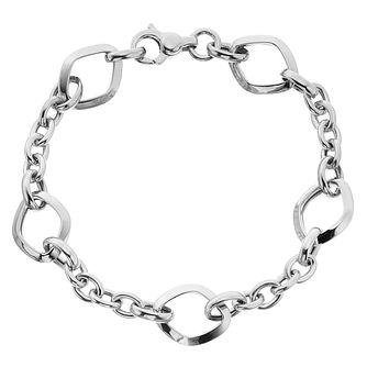 9ct White Gold Square Link Bracelet - Product number 4518292