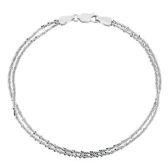 9ct White Gold Double Row Glitter Bracelet - Product number 4518330