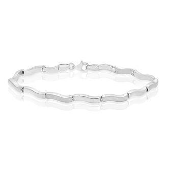 9ct White Gold Wave Link Bracelet - Product number 4518365