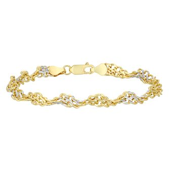 9ct Yellow Gold and Rhodium Plated Twist Bracelet - Product number 4518438