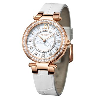 Rossini Madame R Ladies' Stone Set White Leather Strap Watch - Product number 4519884