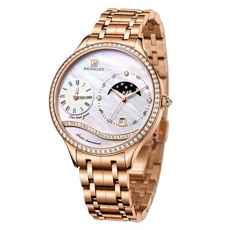 Rossini Ladies' Stone Set Rose Gold-Plated Bracelet Watch - Product number 4520319