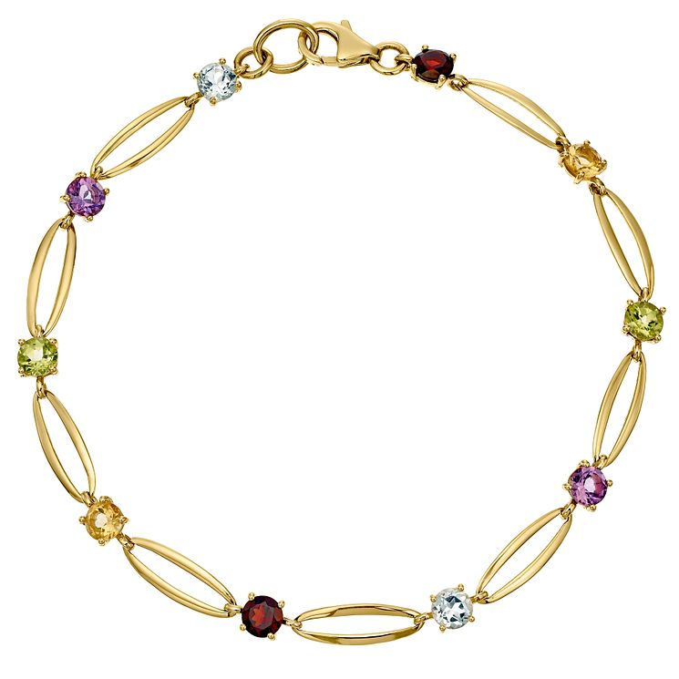 9ct Gold Multi Coloured Stone Bracelet - Product number 4520327