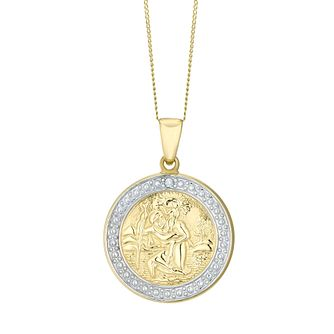 Necklaces hmuel 9ct gold two tone diamond st christopher pendant product number 4521404 aloadofball Gallery