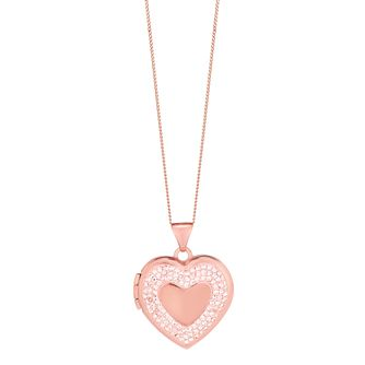 "9ct Rose Gold 18"" Heart & Champagne Crystal Locket - Product number 4523288"