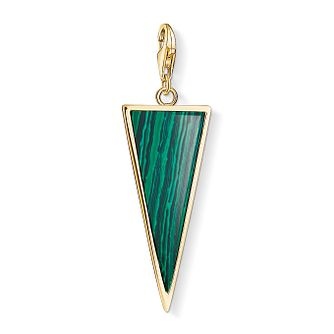 Thomas Sabo Ladies' Yellow Gold Plated Green Triangle Charm - Product number 4524357