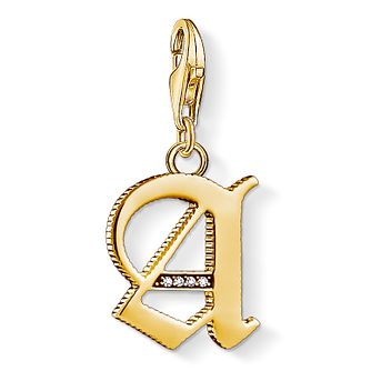 Thomas Sabo Charm Club Gold Plated Vintage A Letter Charm - Product number 4528573
