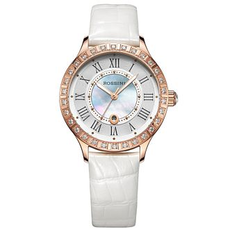 Rossini Ladies' Stone Set White Leather Strap Watch - Product number 4528662