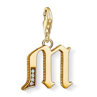 Thomas Sabo Charm Club Gold Plated Vintage M Letter Charm - Product number 4528913