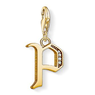 Thomas Sabo Charm Club Gold Plated Vintage P Letter Charm - Product number 4529065