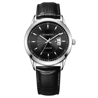 Rossini Sapphire Men's Black Dial Black Leather Strap Watch - Product number 4532422