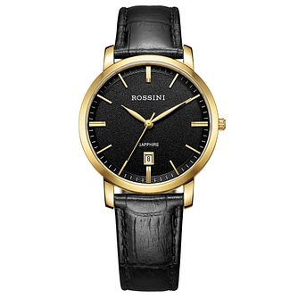 Rossini Sapphire Men's Black Dial Black Leather Strap Watch - Product number 4532635