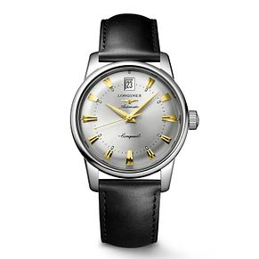 Longines Conquest Heritage Men's Black Leather Strap Watch - Product number 4538781
