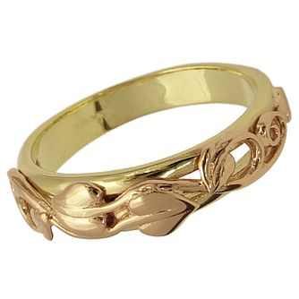 Clogau Gold 9ct Two-colour Gold Leaf Ring - Product number 4543378