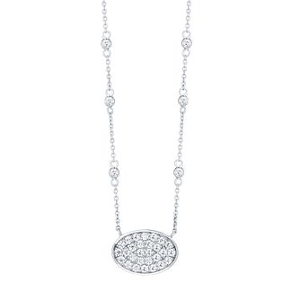 Sterling Silver Cubic Zirconia Oval Necklace - Product number 4548620