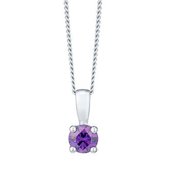 Febuary Sterling Silver Purple Cubic Zirconia Pendant - Product number 4552016