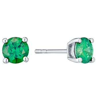 May Sterling Silver Green Cubic Zirconia Stud Earrings - Product number 4552105