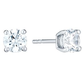 April Sterling Silver Cubic Zirconia Stud Earrings - Product number 4552466