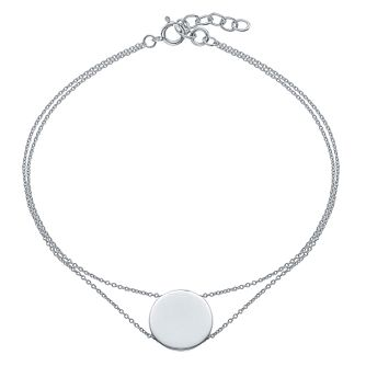 Sterling Silver Engravable disc Bracelet - Product number 4552490