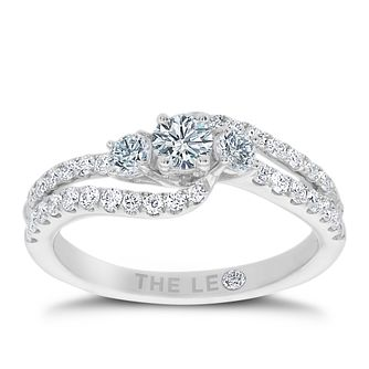 Leo Diamond 18ct White Gold 3/4 Carat Three Stone Ring - Product number 4555023