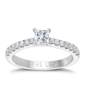 Leo Diamond 18ct White Gold 2/3ct Princess Cut Ring - Product number 4555562