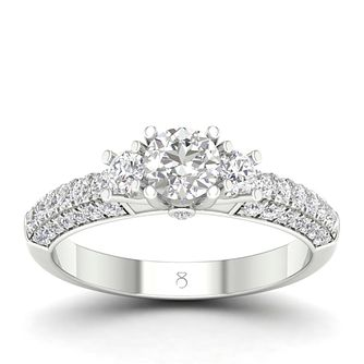 18ct White Gold 1 Carat Three Stone Diamond Ring - Product number 4557557