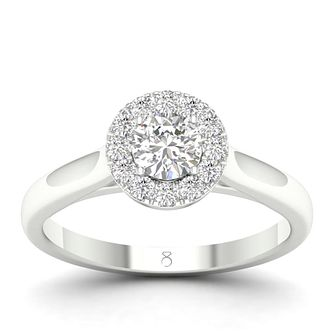 The Diamond Story 18ct White Gold 1/2 Carat Halo Ring - Product number 4557697