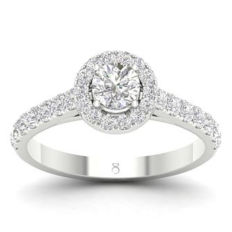 The Diamond Story 18ct White Gold 1ct Diamond Halo Ring - Product number 4561112