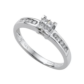 18ct white gold 0.25ct princess cut diamond ring - Product number 4561716