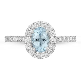 Neil Lane 14ct White Gold 0.54ct Diamond Aquamarine Ring - Product number 4563743