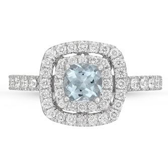Neil Lane 14ct White Gold 0.69ct Diamond Aquamarine Ring - Product number 4566025