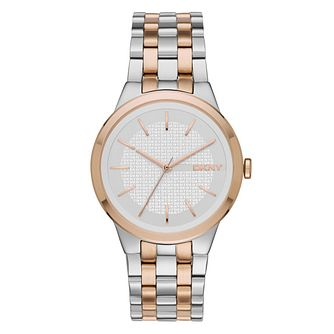 DKNY Ladies' Two Colour Stainless Steel Bracelet Watch - Product number 4573196