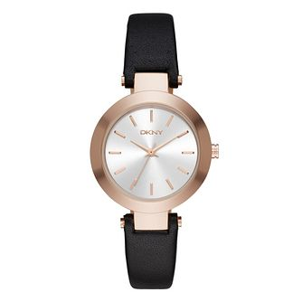DKNY Ladies' Gold-Plated Black Leather Strap Watch - Product number 4573560