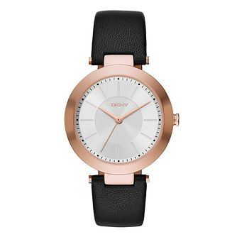 DKNY Ladies' Gold-Plated Black Leather Strap Watch - Product number 4573889
