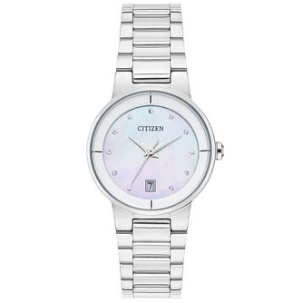 Citizen Ladies' Stone Set Stainless Steel Bracelet Watch - Product number 4574354
