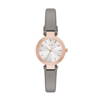 DKNY Ladies' Stanhope Slim Grey Leather Strap - Product number 4575075