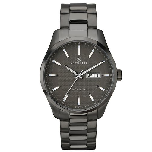 Accurist Men's Gunmetal Grey Stainless Steel Bracelet Watch - Product number 4575202