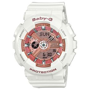 Casio Baby-G Ladies' Pink Dial White Resin Strap Watch - Product number 4575377