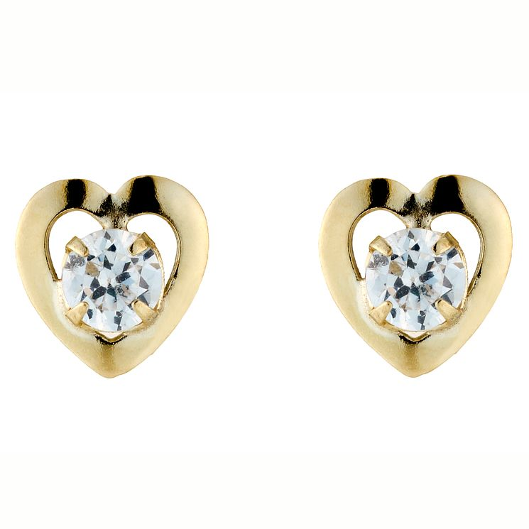 9ct Yellow Gold Cubic Zirconia heart Stud Earrings - Product number 4577787