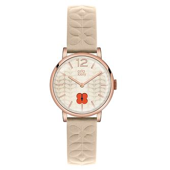 Orla Kiely Ladies' Flower Pattern Cream Leather Strap Watch - Product number 4578821