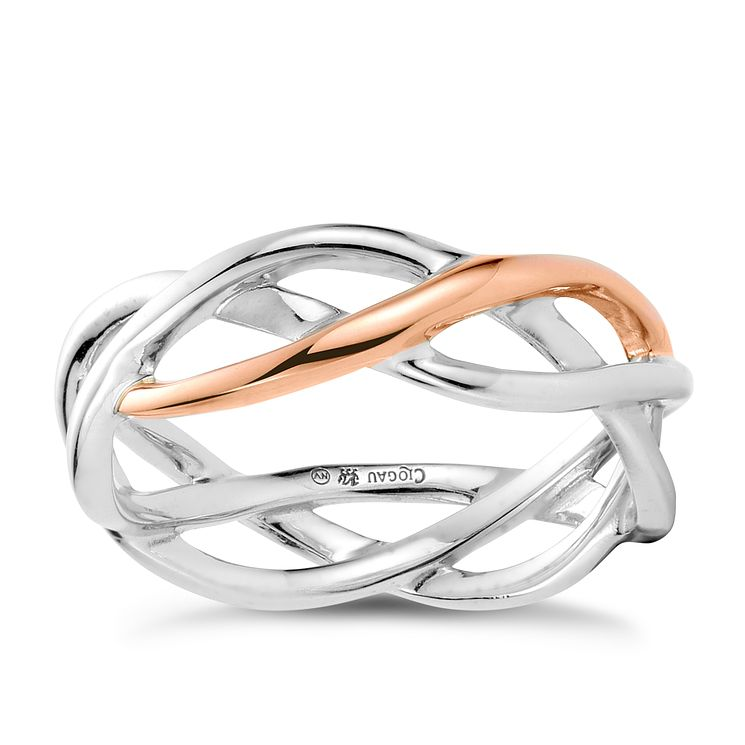 Clogau Gold Eternal Love Silver & 9ct Rose Gold Weave Ring