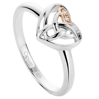 Clogau Gold Eternal Love Silver & 9ct Rose Gold Heart Ring - Product number 4581164