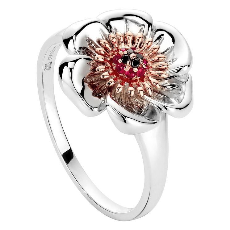 Clogau Gold Silver & 9ct Rose Gold Welsh Poppy Ring