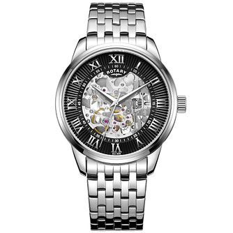 Rotary Men's Black Dial Stainless Steel Bracelet Watch - Product number 4606973