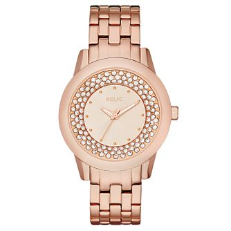 Relic Ladies' Stone Set Rose Gold-Plated Bracelet Watch - Product number 4608240