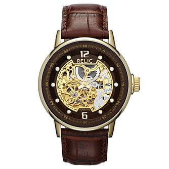 Relic Men's Black Dial Brown Leather Strap Watch - Product number 4608526