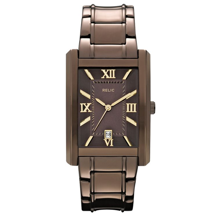Relic Men's Brown Dial Brown Ion-Plated Bracelet Watch - Product number 4608607